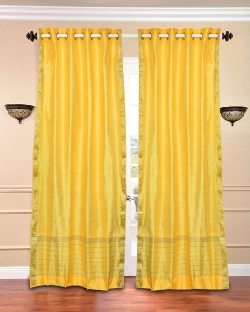 Yellow Ring Top  Sheer Sari Curtain / Drape / Panel  - Piece