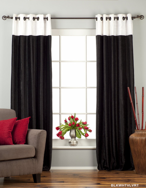 Signature Black and White ring top velvet Curtain Panel - Piece