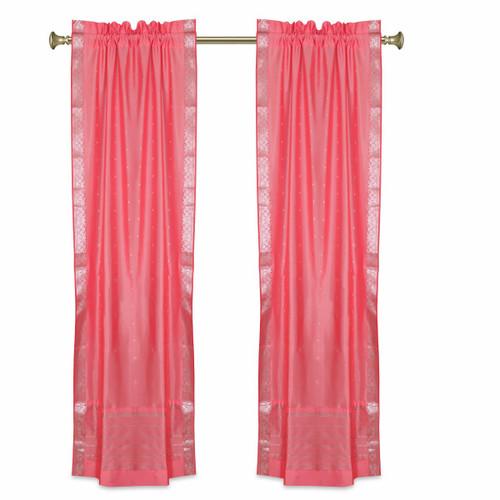 Pink Rod Pocket  Sheer Sari Curtains w/ Silver Border-Pair