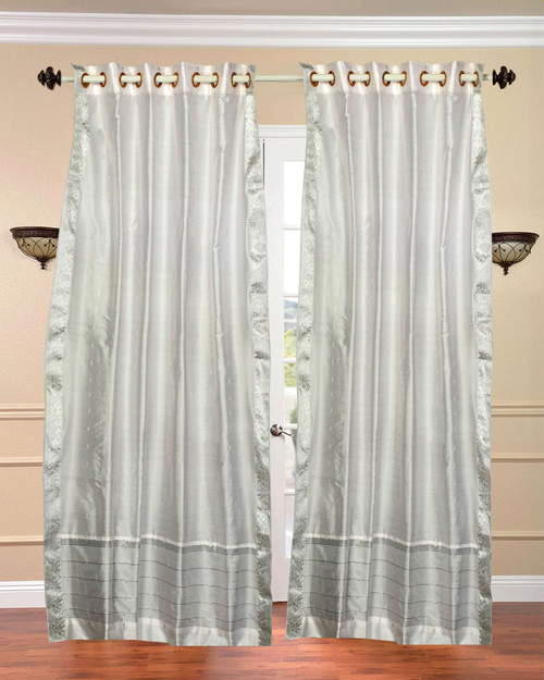White with Silver trim Ring Top  Sheer Sari Curtain / Drape / Panel  - Piece