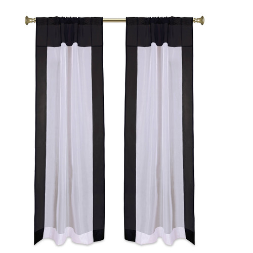 "White with Black  Tab Top Sheer Tissue Curtain / Drape / Panel-84""-Piece"
