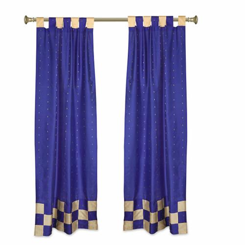 2 Eclectic Blue Indian Sari Curtains Tab Top Curtain drapes