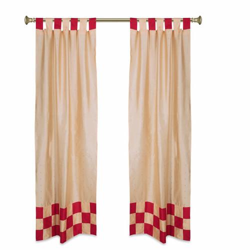 2 Eclectic Gold Indian Sari Curtains Tab Top Curtain drapes