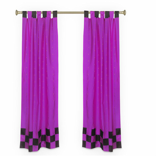 2 Eclectic Lavender Indian Sari Curtains Tab Top Curtain drapes