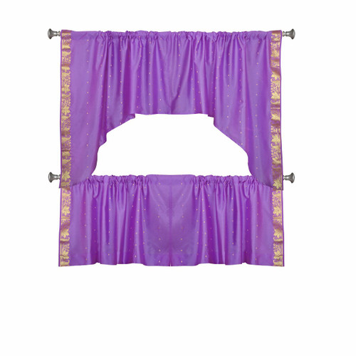 Lavender Semi Sheer Sari Cafe Tier and Valance