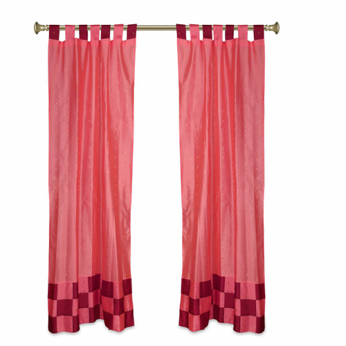 2 Eclectic Peach Indian Check Sari Curtains Tab Top drapes