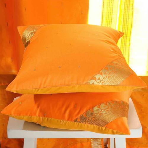 Pumpkin- handcrafted Cushion Cover, Throw Pillow case Euro Sham-6 Sizes