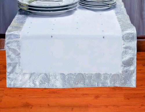 White Silver - Hand Crafted Table Runner (India)