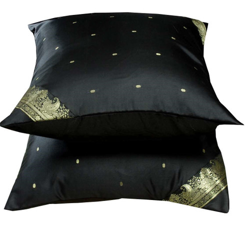 Black-Decorative handcrafted Cushion Cover,Throw Pillow case Euro Sham - 6 Sizes