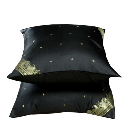 Black-Decorative handcrafted Cushion Cover,Throw Pillow case Euro Sham-6 Sizes