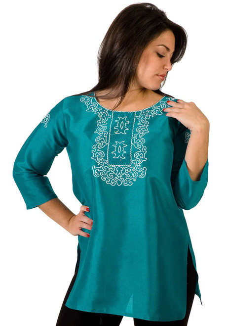 Turquoise Art Silk Indian Kurti / Tunic with thread embroidery