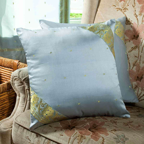 Gray-Decorative handcrafted Cushion Cover, Throw Pillow case Euro Sham-6 Sizes