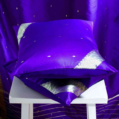 Purple-Decorative handcrafted Cushion Cover Throw Pillow case Euro Sham-6 Sizes