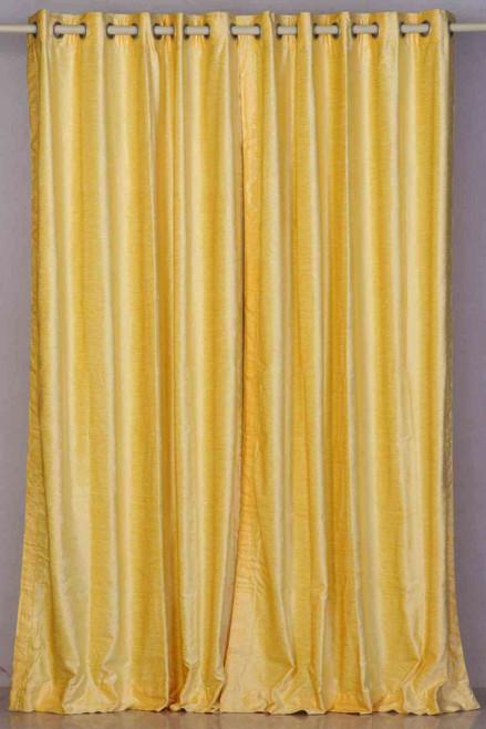 Yellow Ring / Grommet Top  Velvet Curtain / Drape / Panel  - Piece