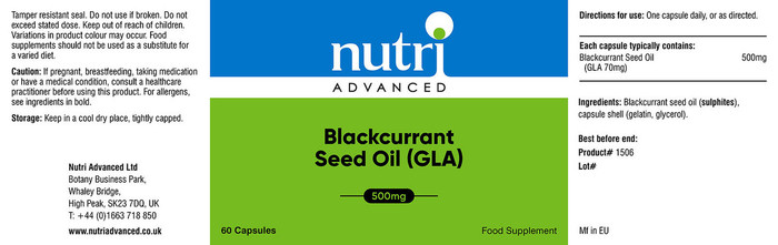Nutri Advanced Blackcurrant Seed Oil (GLA) 60 Capsules
