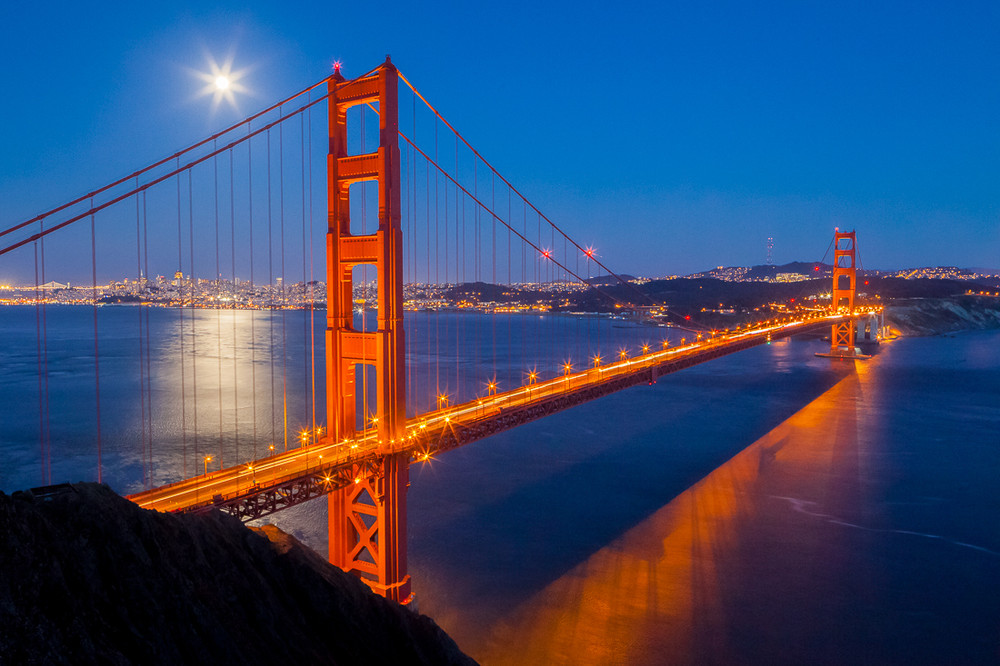 Moonrise and the Golden Gate Bridge
