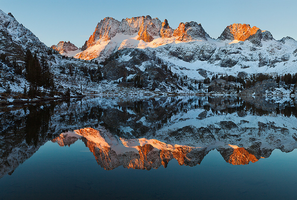 Dawn - Autumn Snowfall at Lake Ediza and the Minarets