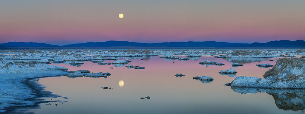 The Snow Moon Rising over Mono Lake
