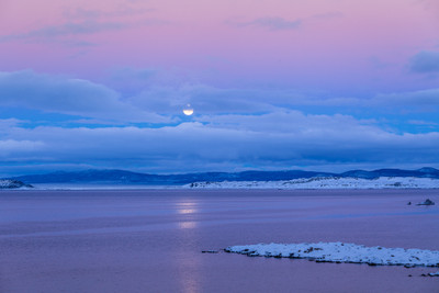 Full Winter Moonrise Mono Lake