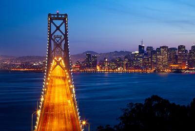 San Francisco-Oakland Bay Bridge at Dusk