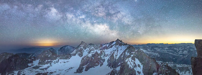 The Palisades and the Milky Way - Panoramic