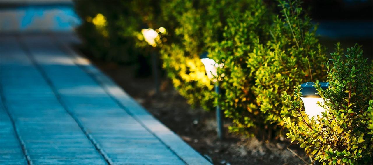 Garden Decking Brushed Nickel Lights