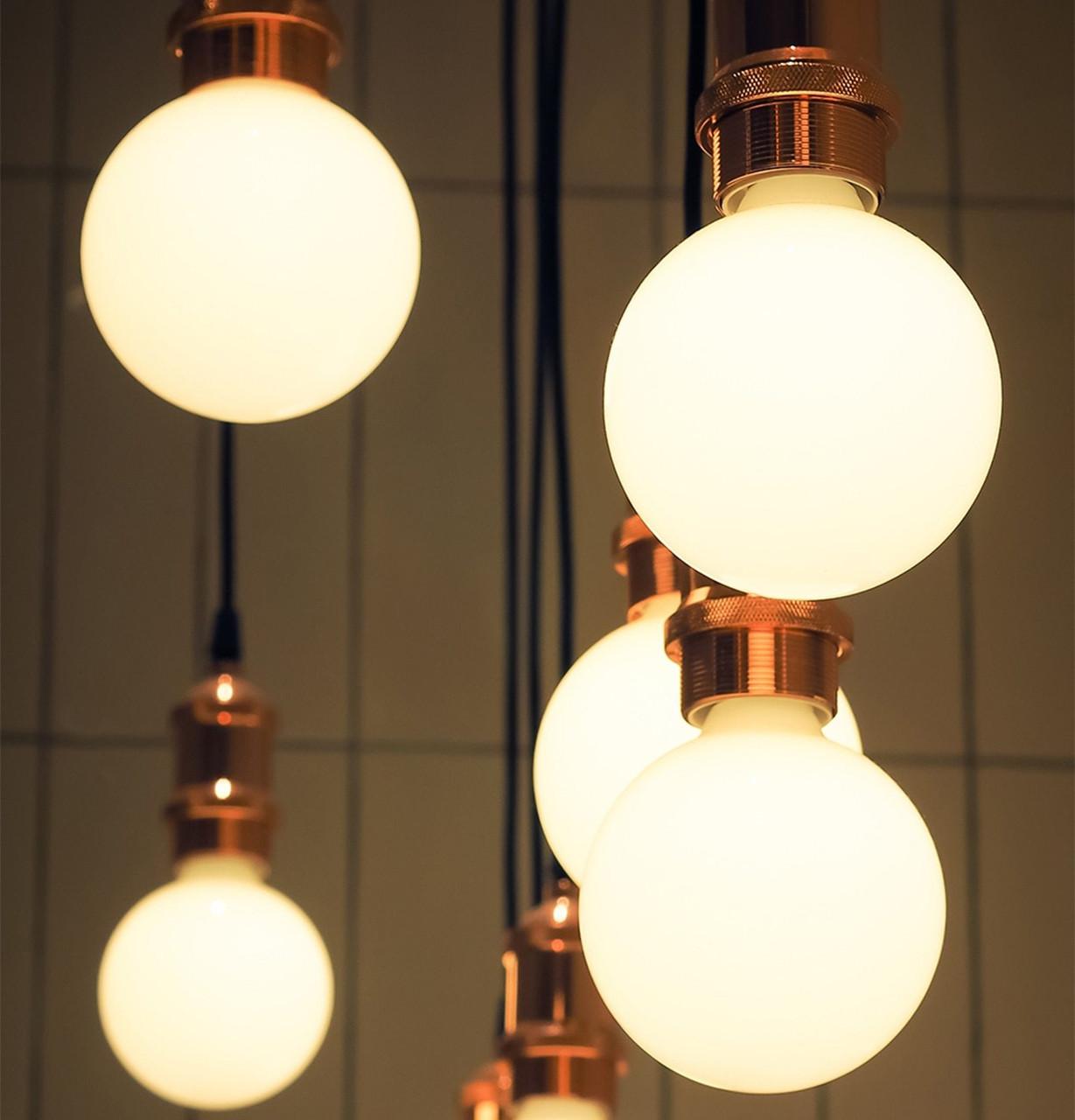 LED Dimmable G125 Crackle Light Bulbs