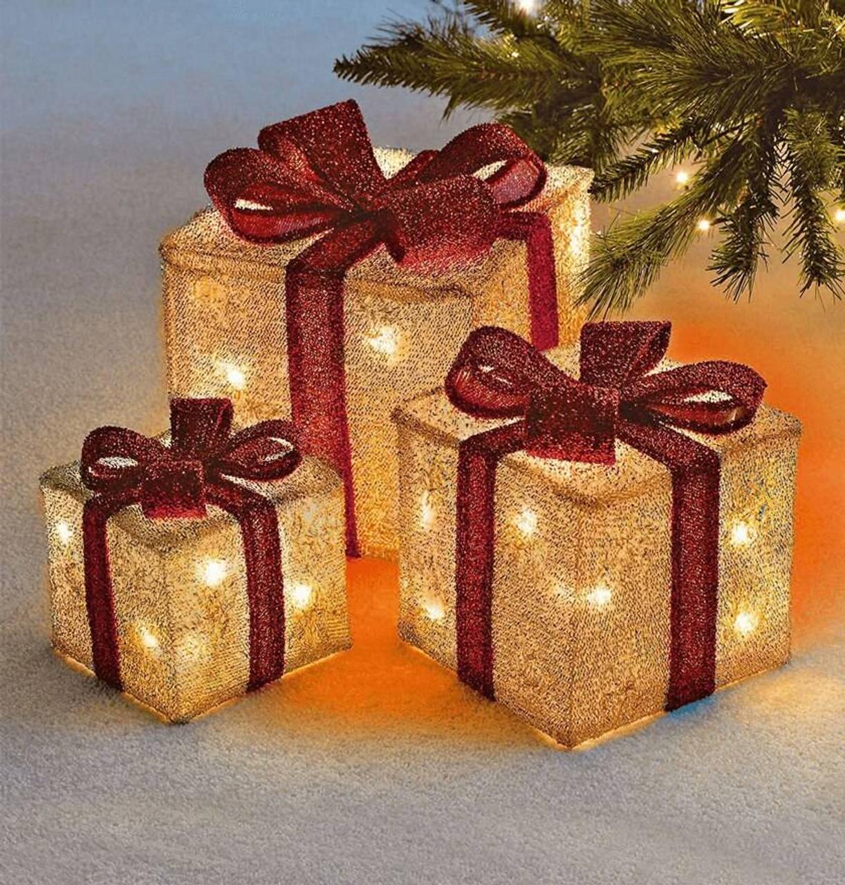 Sentik LED Christmas Parcels Gold (Set of 3)