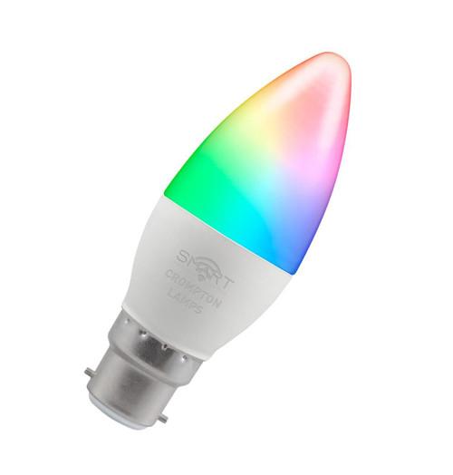 Crompton LED Smart Wifi Candle B22 5W Dim Warm White + RGB 12363 Image 1