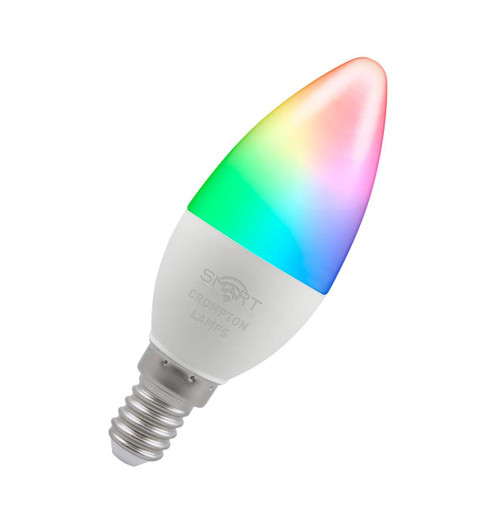 Crompton LED Smart Wifi Candle E14 5W Dim Warm White + RGB 12370 Image 1