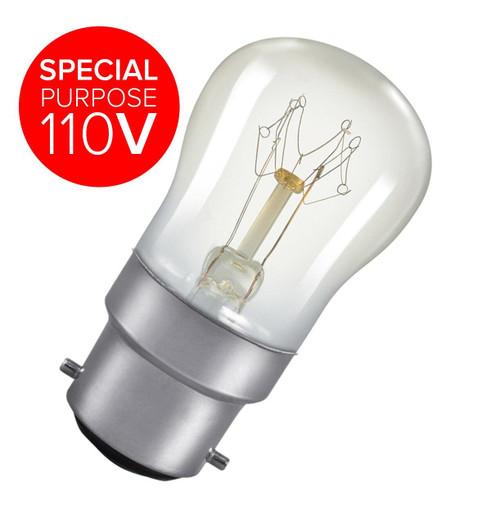 Special purpose 110V. Crompton 110V Pygmy B22 15W 2800K SIG15CBC110