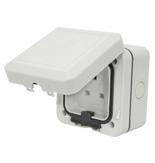 Mercury Weatherproof Outdoor Socket 250V 13A Grey IP66 Image 1