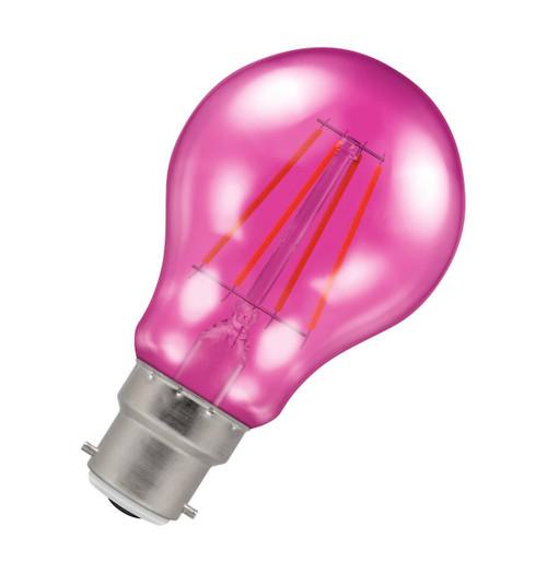 Crompton Lamps LED GLS 4.5W B22 Harlequin IP65 Pink Translucent Image 1