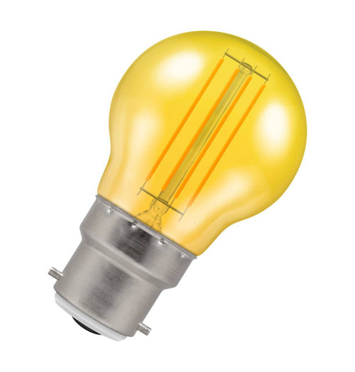 Crompton Lamps LED Golfball 4.5W B22 Harlequin IP65 Yellow Translucent Image 1