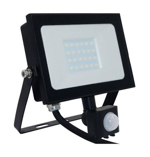 Phoebe LED Floodlight 20W Atlas-Mini PIR Sensor Cool White Black IP65 Image 1