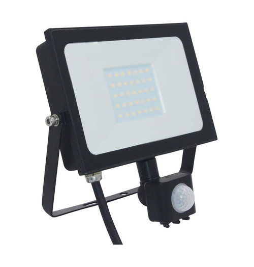 Phoebe LED Floodlight 30W Atlas-Mini PIR Sensor Cool White Black IP65 Image 1