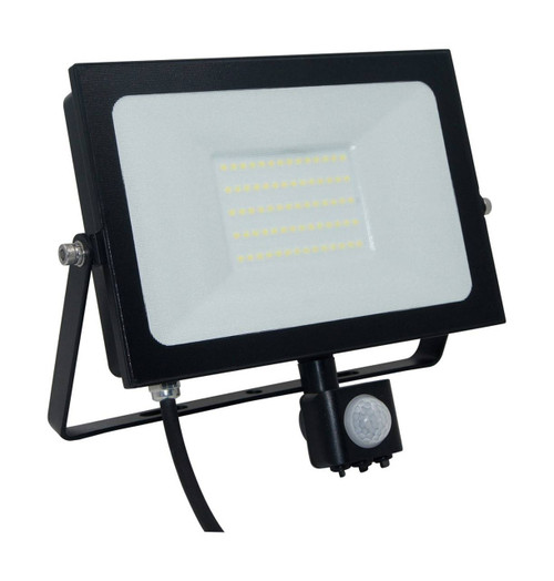 Phoebe LED Floodlight 50W Atlas-Mini PIR Sensor Cool White Black IP65 Image 1