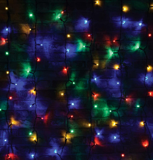 Lyyt-Connect 1.2m 102 Multi-Coloured LED Connectable Outdoor Curtain Lights Image 1