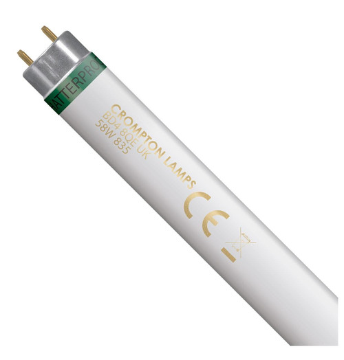 Crompton Lamps Fluorescent 5ft T8 Tube 58W Triphosphor Food Safe Shatterproof White Image 1