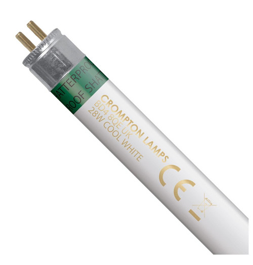 Crompton Lamps Fluorescent T5 Tube 28W High Efficiency Shatterproof Cool White Image 1