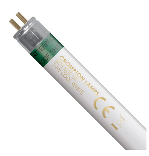 Crompton Lamps Fluorescent T5 Tube 54W High Output Shatterproof Cool White Image 1