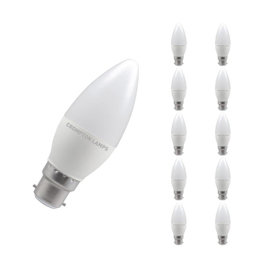 Crompton Lamps LED Candle 5W B22 Dimmable (10 Pack) Warm White Opal (40W Eqv)