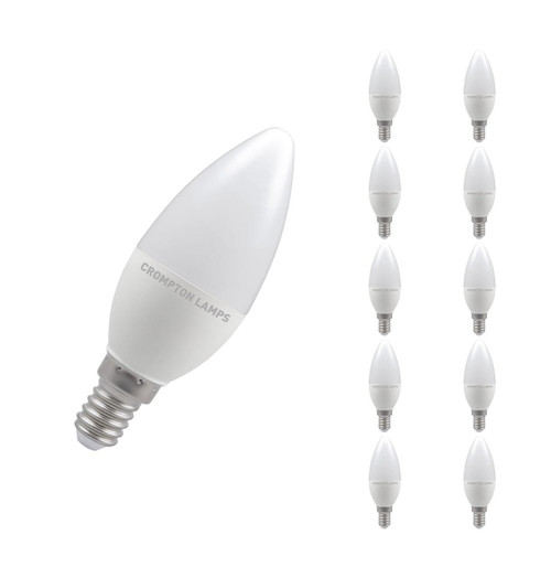 Crompton Lamps LED Candle 5W E14 Dimmable (10 Pack) Warm White Opal (40W Eqv)