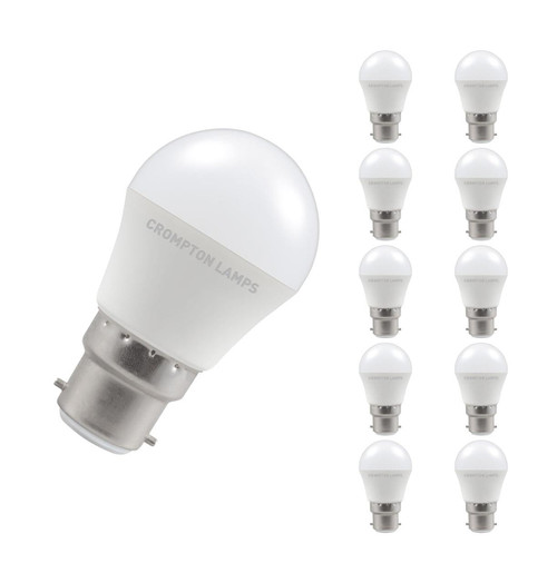 Crompton Lamps LED Golfball 5W B22 Dimmable (10 Pack) Warm White Opal (40W Eqv)