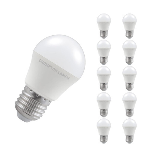 Crompton Lamps LED Golfball 5W E27 Dimmable (10 Pack) Cool White Opal (40W Eqv)