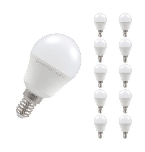 Crompton Lamps LED Golfball 5W E14 Dimmable (10 Pack) Cool White Opal (40W Eqv)