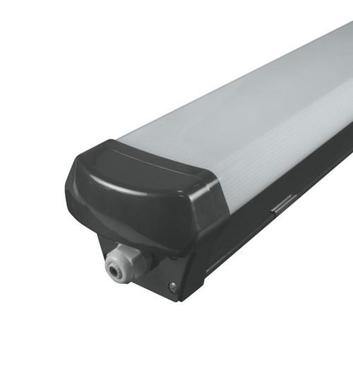 Phoebe LED 4ft IP65 Fitting 40W Manto Sensor Cool White 120° Black Non-Corrosive Image 1