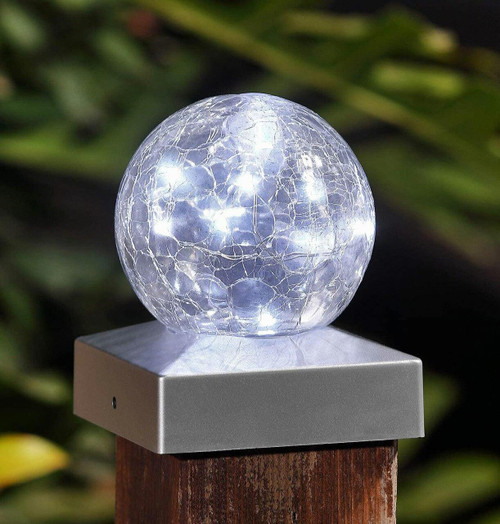 Solalite LED Solar Crackle Ball Deck Cap Light Cool White (2 Pack) Image 1