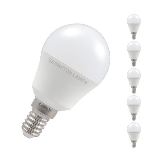 Crompton Lamps LED Golfball 5W E14 Dimmable (5 Pack) Cool White Opal (40W Eqv)