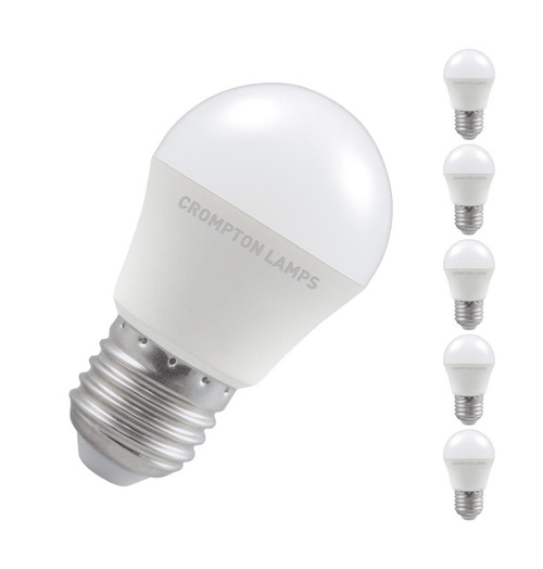 Crompton Lamps LED Golfball 5W E27 Dimmable (5 Pack) Cool White Opal (40W Eqv) Image 1